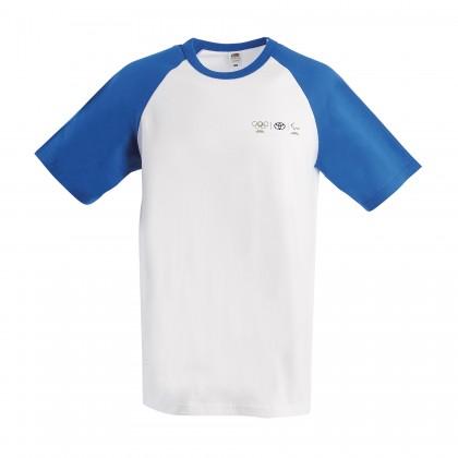 Olympia Herren T-Shirt mit blauen Kontrastärmeln
