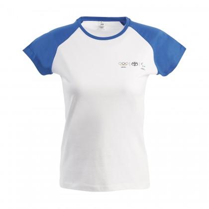 Olympia Damen T-Shirt mit blauen Kontrastärmeln
