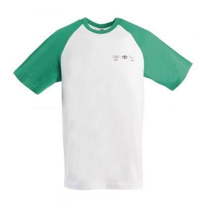 Olympia Herren T-Shirt mit grünen Kontrastärmeln