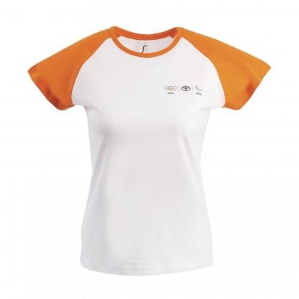 Olympia Damen T-Shirt mit orangenen Kontrastärmeln
