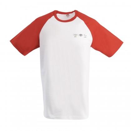 Olympia Herren T-Shirt mit roten Kontrastärmeln