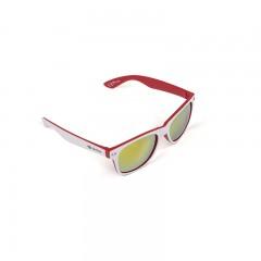 Unisex Sonnenbrille, weiß & rot matt